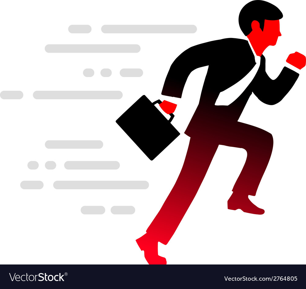 Office man runs in a suit tie and with bri vector | Price: 1 Credit (USD $1)