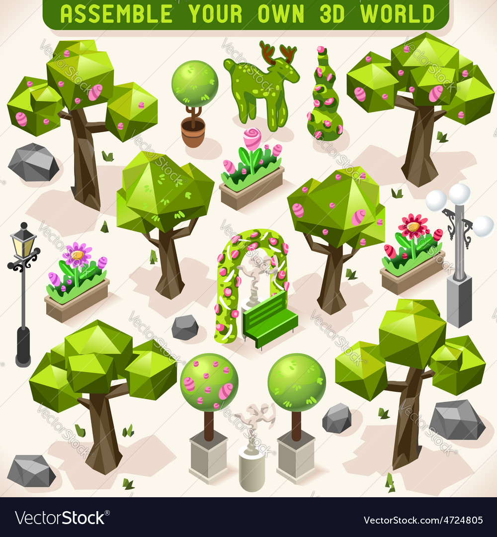 Park set lowpoly 3d isometric vector | Price: 3 Credit (USD $3)