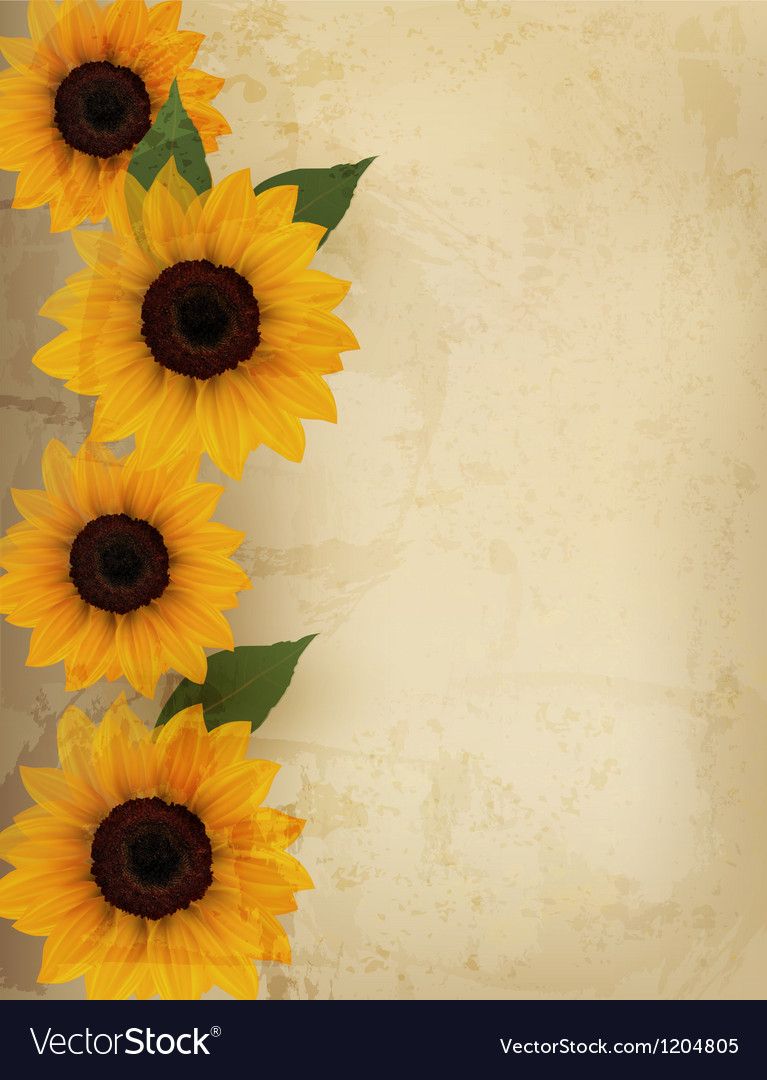 Retro background with yellow flowers vector