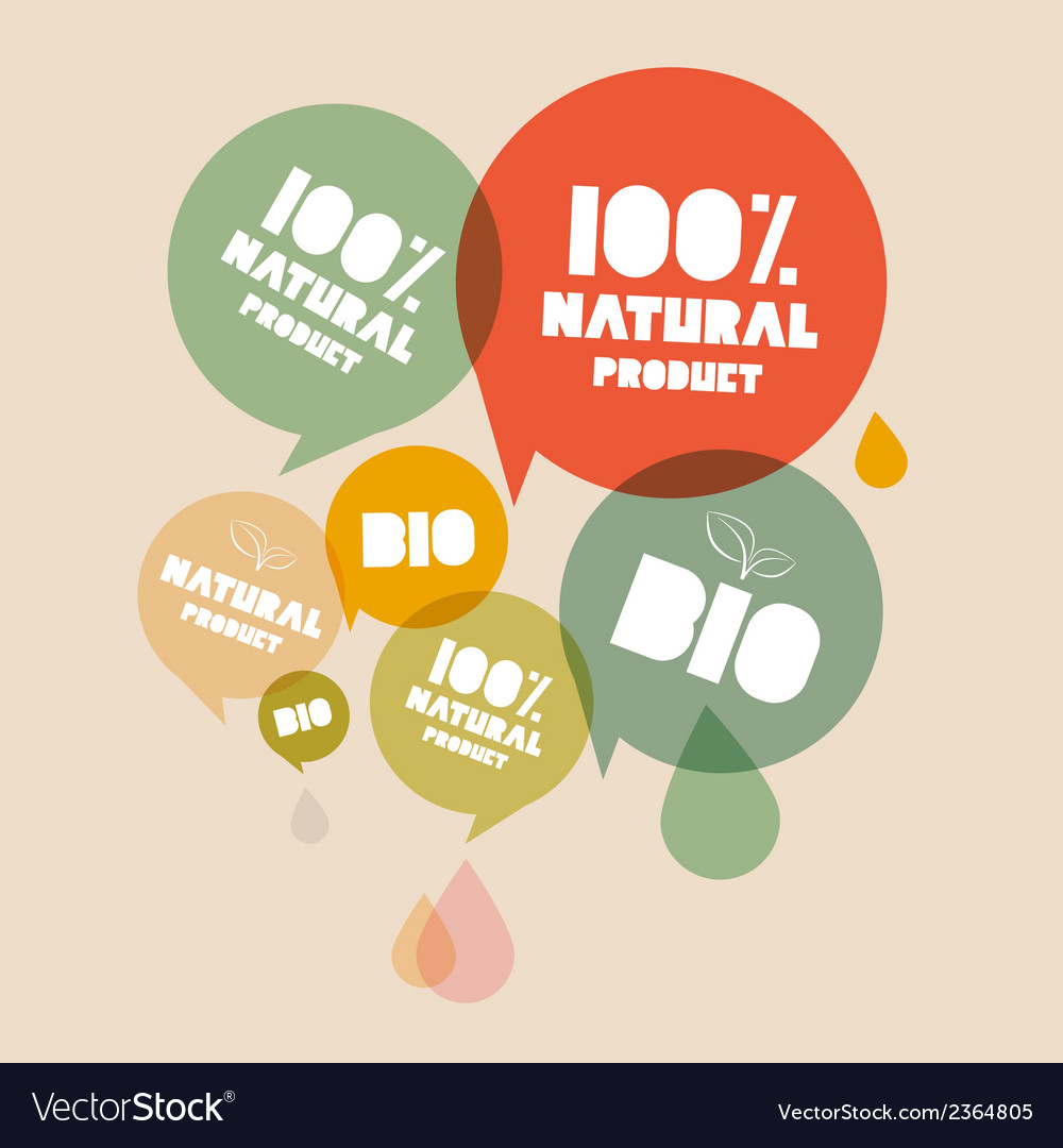 Retro natural product bio green labels set vector | Price: 1 Credit (USD $1)