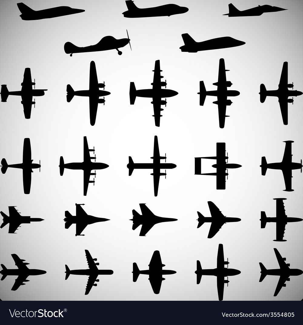 Set of different airplane icons 2 vector | Price: 1 Credit (USD $1)