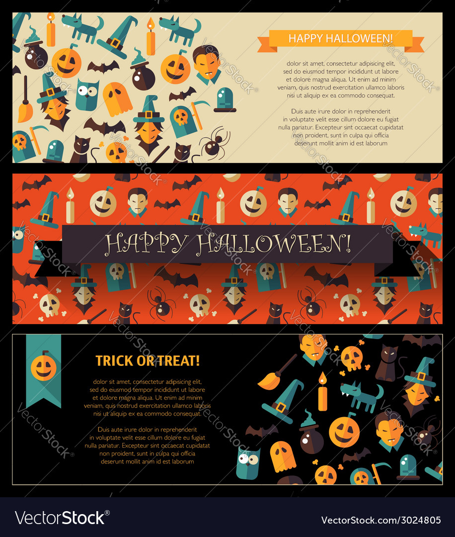 Set of flat design halloween card templates vector | Price: 1 Credit (USD $1)