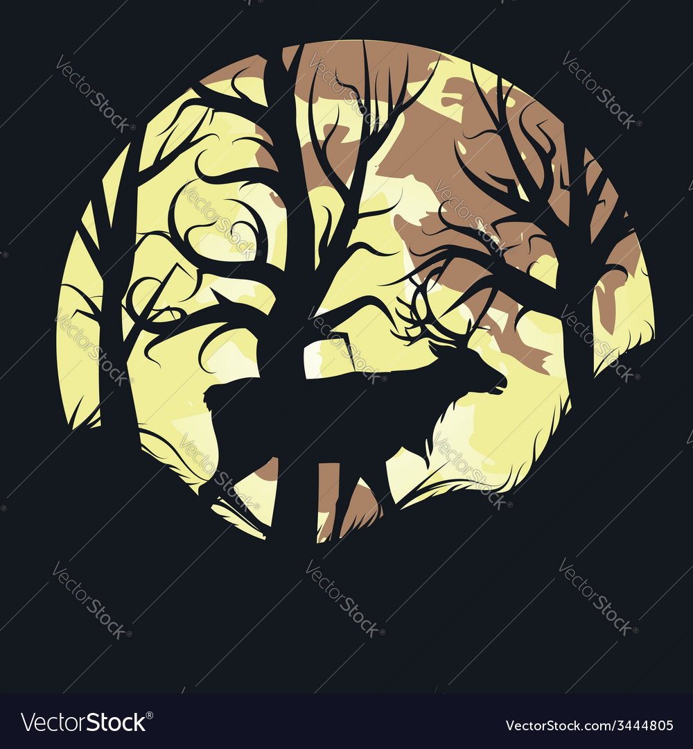 Stag over full moon vector | Price: 1 Credit (USD $1)