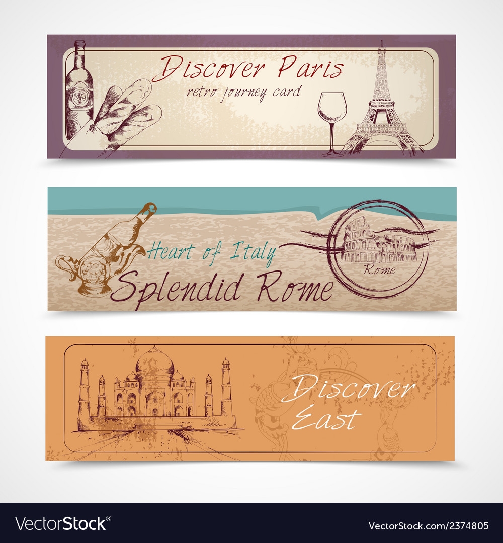 World landmark banners vector | Price: 1 Credit (USD $1)