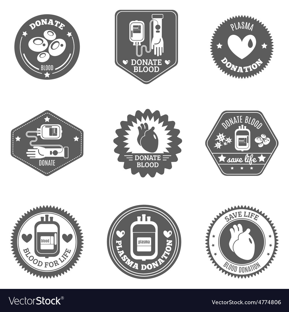 Blood donor label set vector | Price: 3 Credit (USD $3)