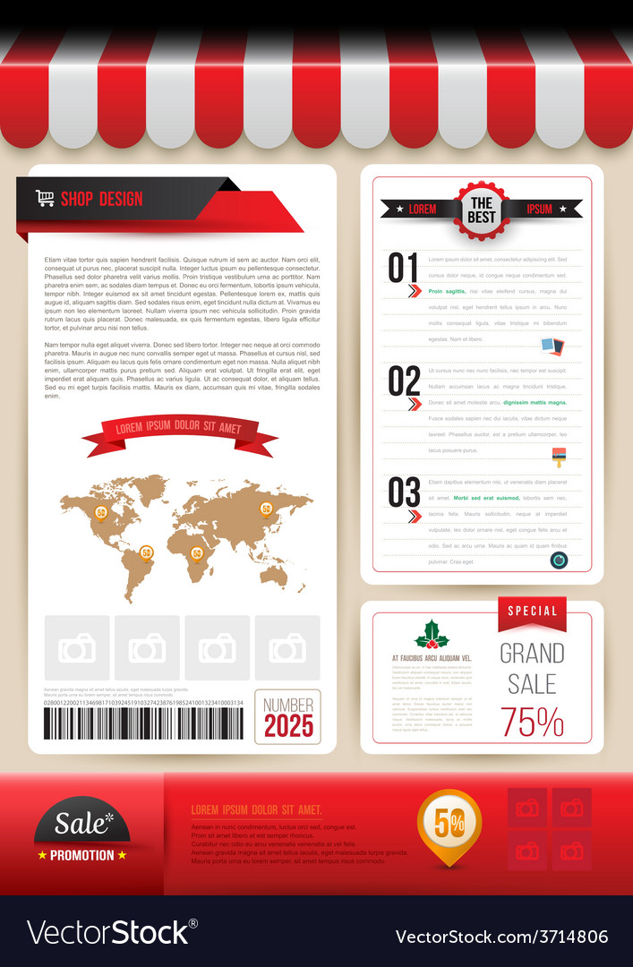 Brochure template design shop style vector | Price: 1 Credit (USD $1)
