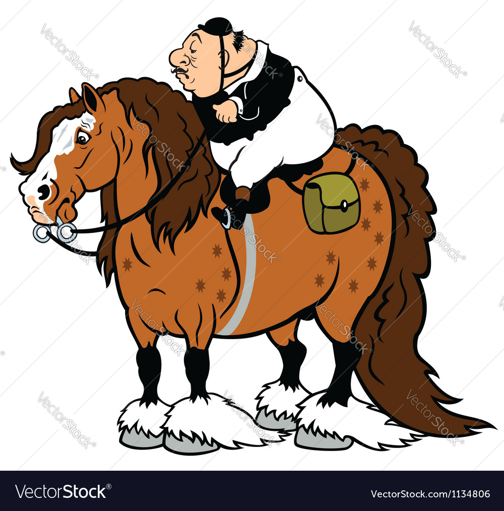 Fat rider with heavy horse vector | Price: 1 Credit (USD $1)