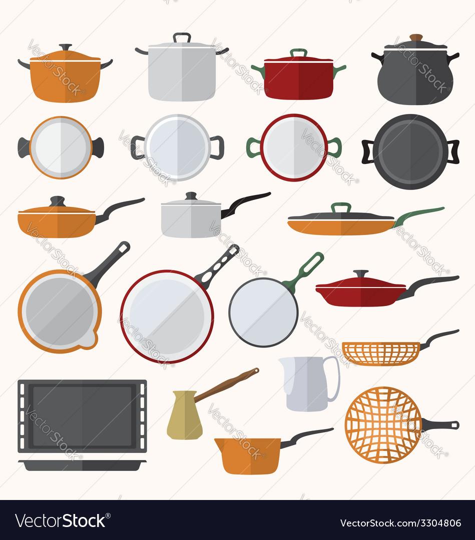 Flat various tableware set vector | Price: 1 Credit (USD $1)