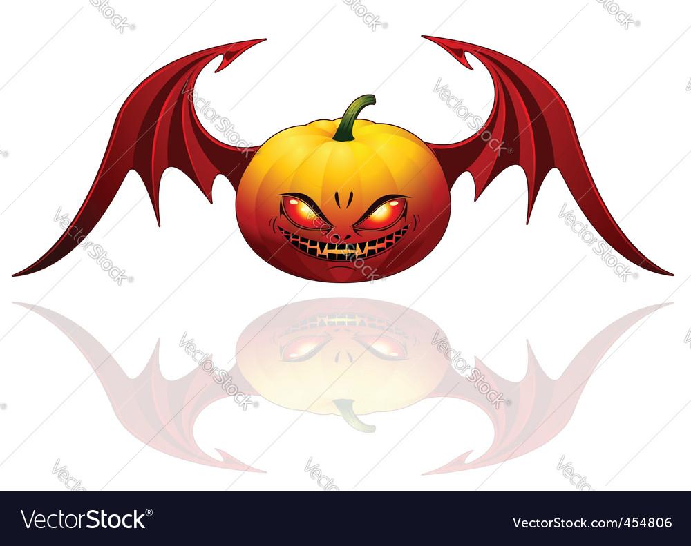 Halloween pumpkin with wings vector | Price: 1 Credit (USD $1)
