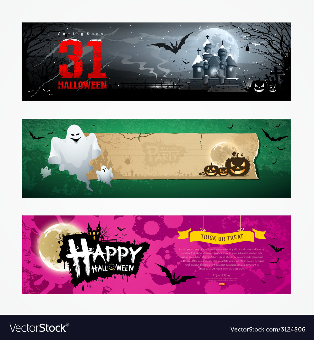 Happy halloween banner collections design vector | Price: 3 Credit (USD $3)