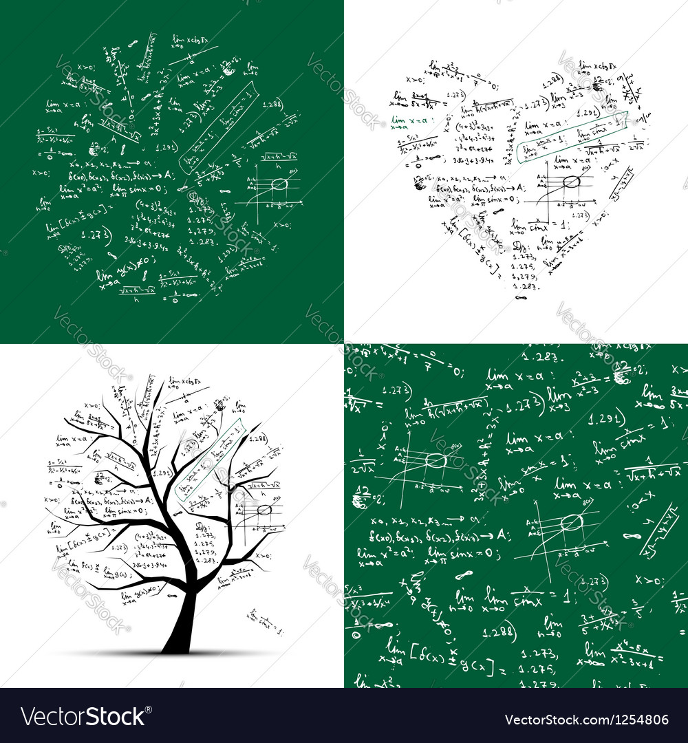 Math collection frame tree seamless background vector | Price: 1 Credit (USD $1)