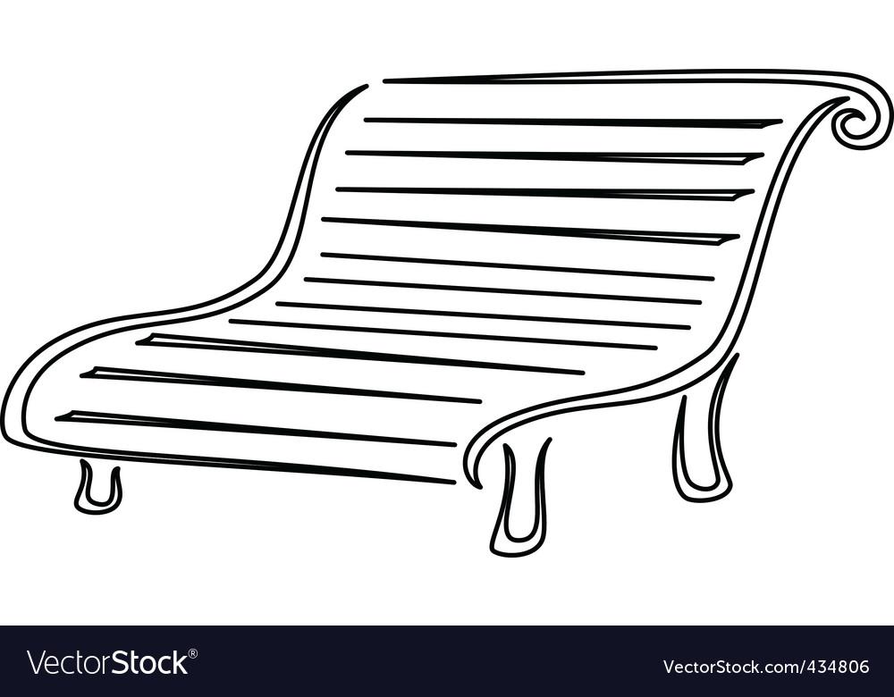 Park bench contours vector | Price: 1 Credit (USD $1)