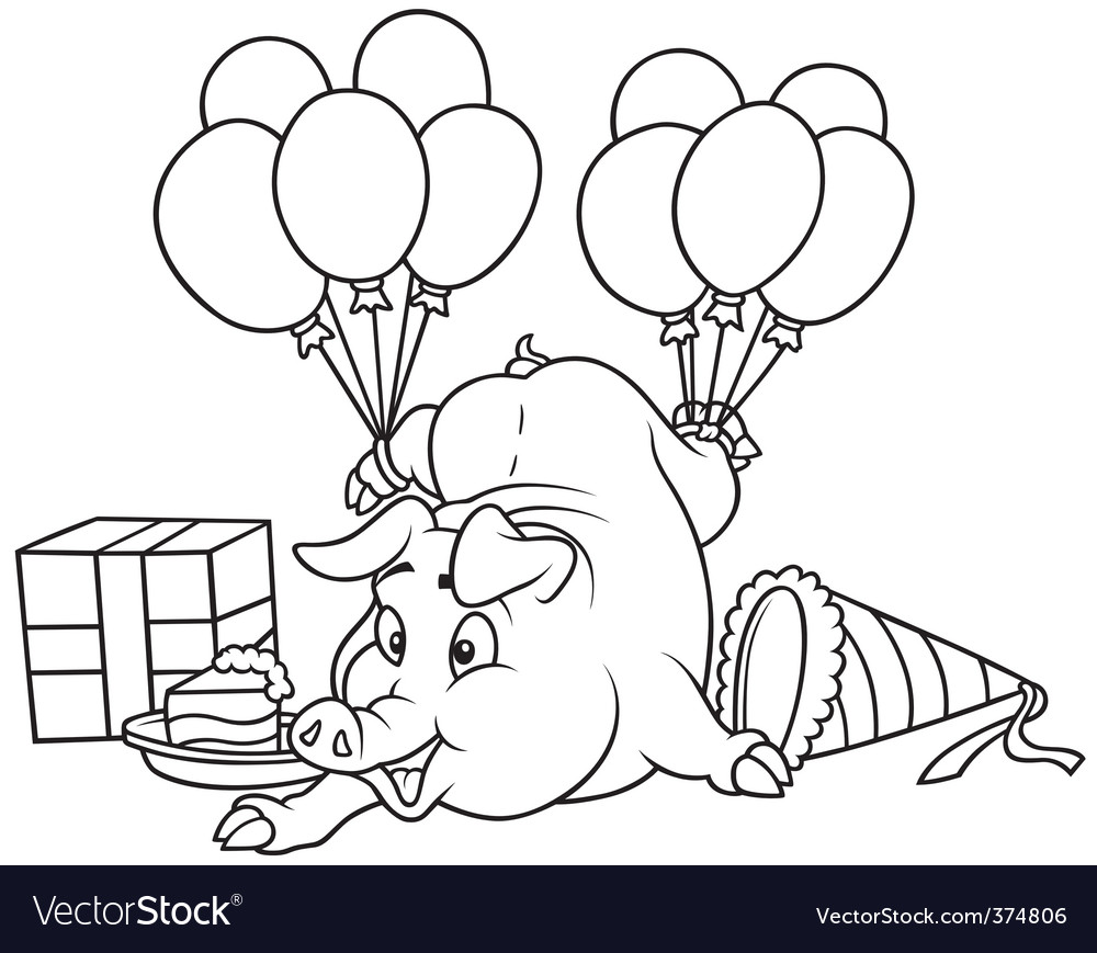 Piglet and celebration vector | Price: 1 Credit (USD $1)