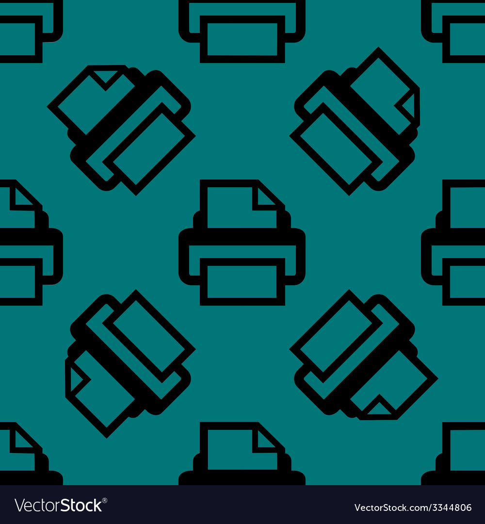 Printer web icon flat design seamless pattern vector | Price: 1 Credit (USD $1)