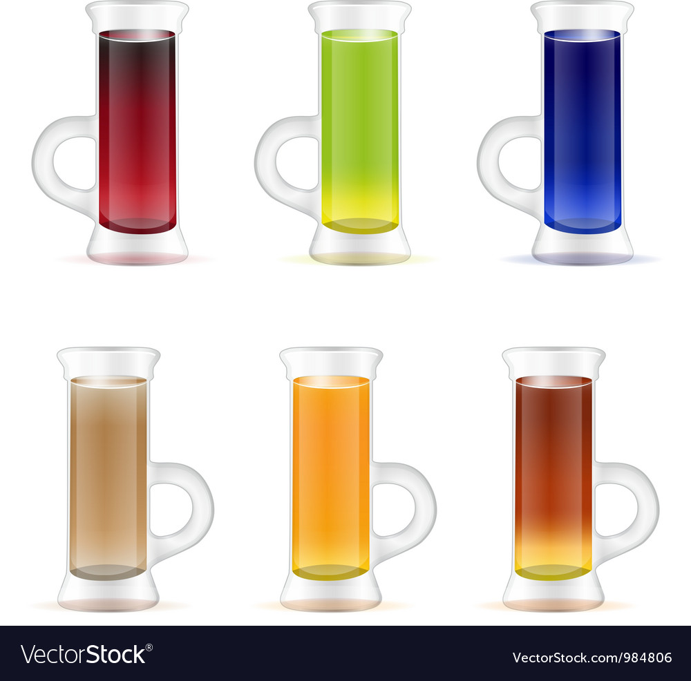 Set of colorful alcohol shots drink vector | Price: 3 Credit (USD $3)
