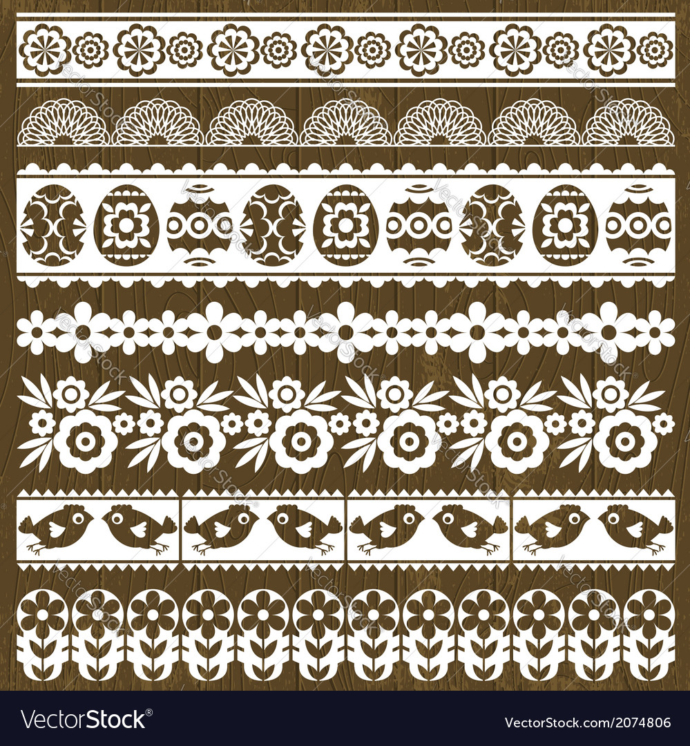 Set of lace paper with flower and easter eggs vector | Price: 1 Credit (USD $1)
