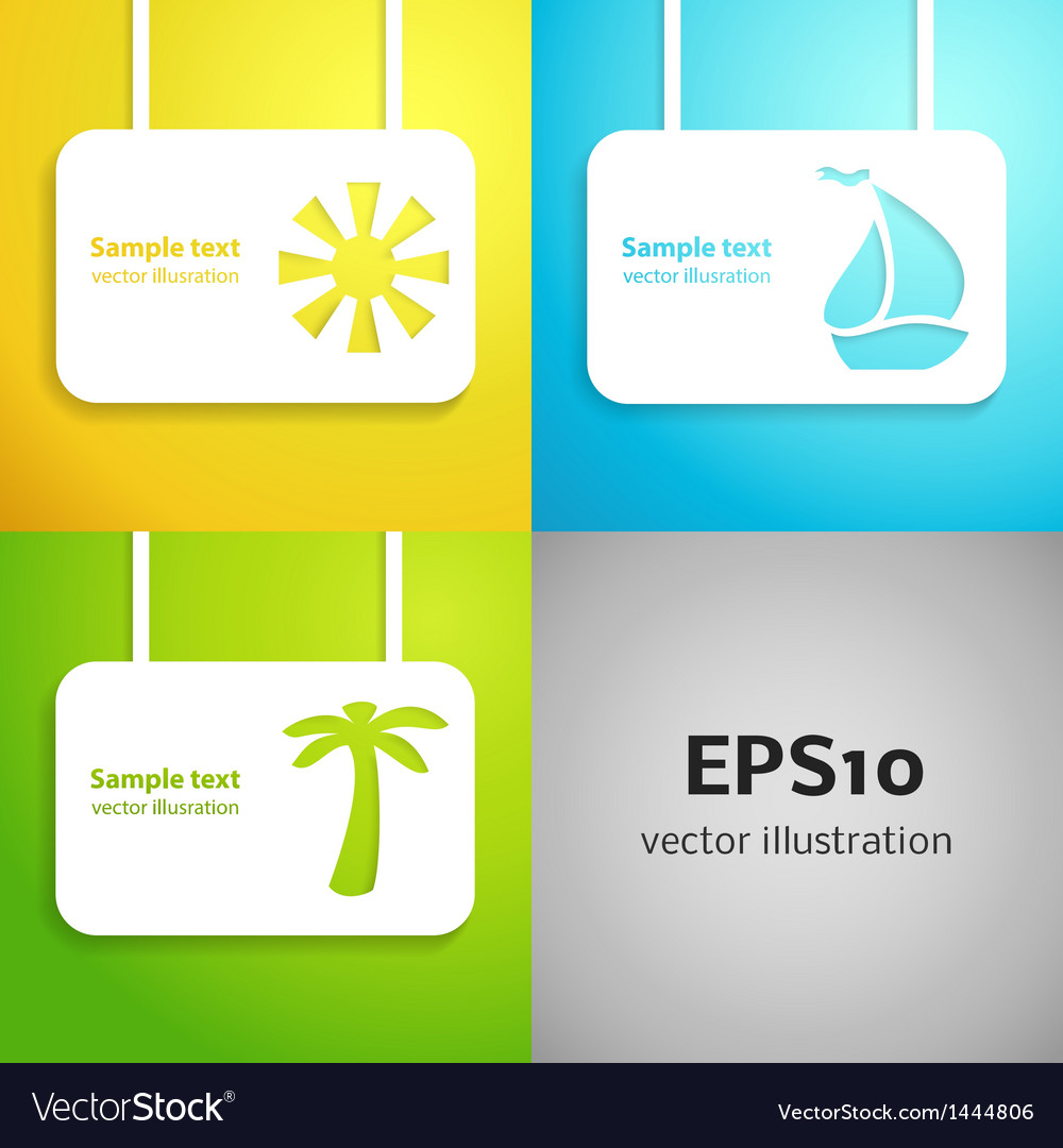 Sun sail boat and palm tree applique background vector | Price: 1 Credit (USD $1)