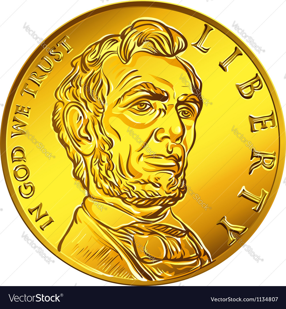 American money one dollar gold coin vector | Price: 1 Credit (USD $1)