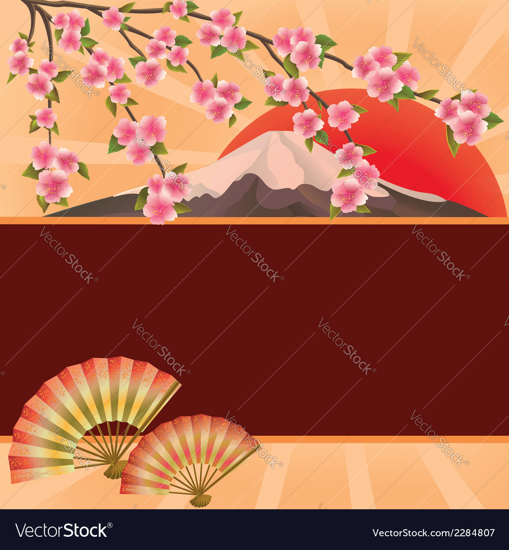 Background with fans mountain and japanese cherry vector | Price: 1 Credit (USD $1)