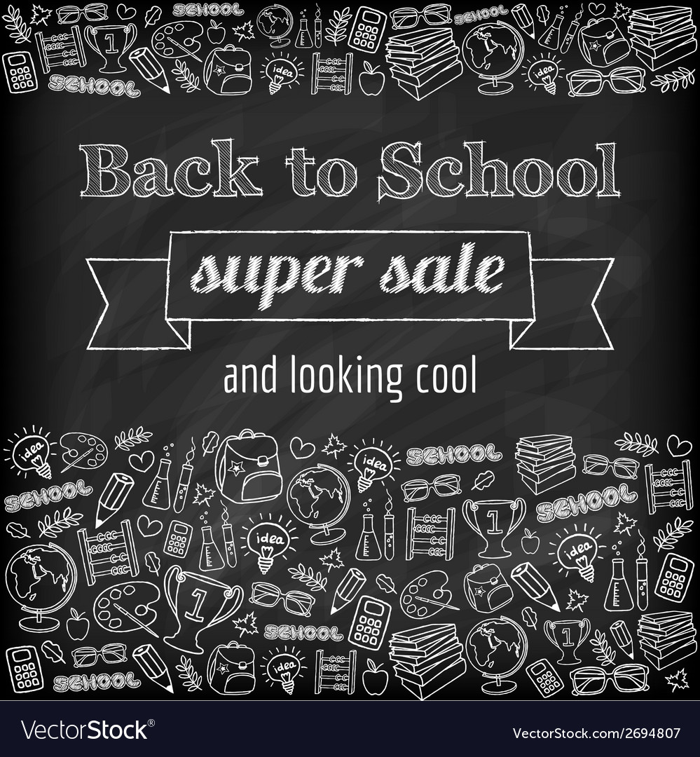 Doodle back to school super sale poster vector | Price: 1 Credit (USD $1)