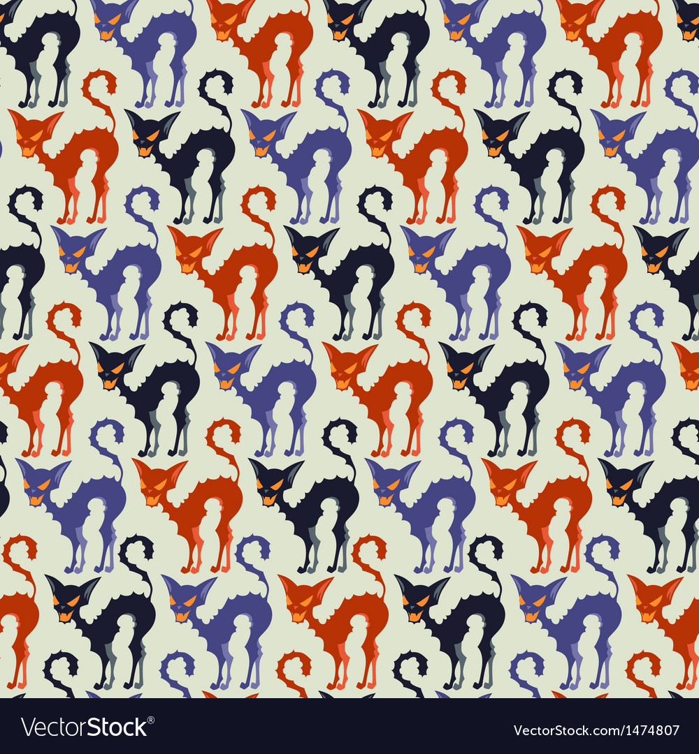 Halloween seamless pattern with black cats vector