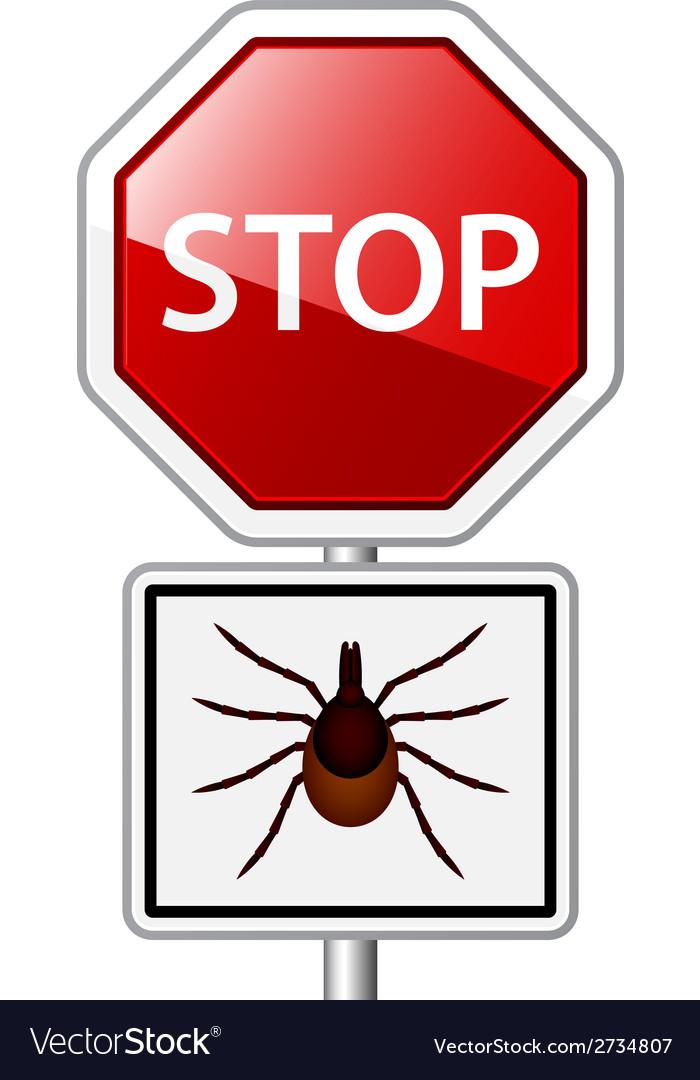 Ixodes ricinus tick road stop sign vector | Price: 1 Credit (USD $1)