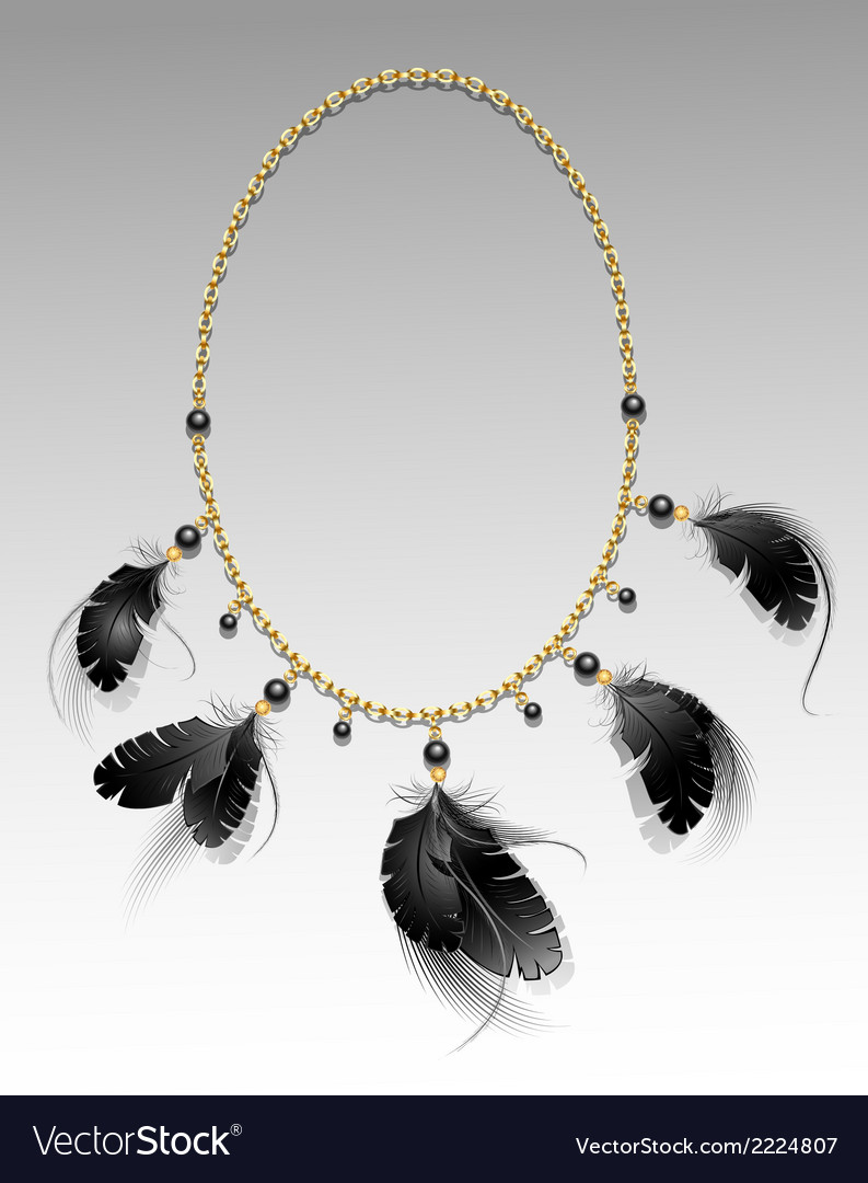 Jewelry with black feathers vector | Price: 1 Credit (USD $1)