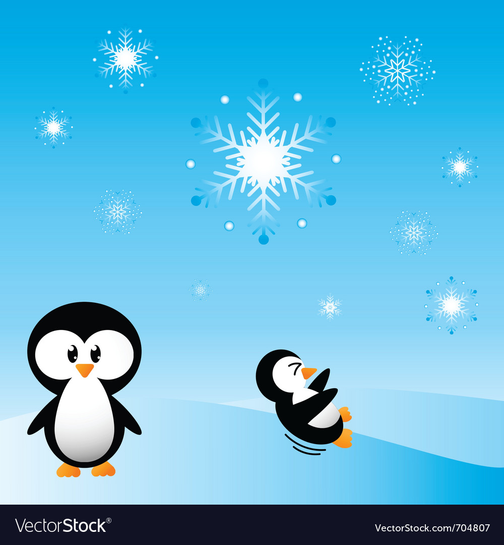 Penguins in the snow vector | Price: 1 Credit (USD $1)
