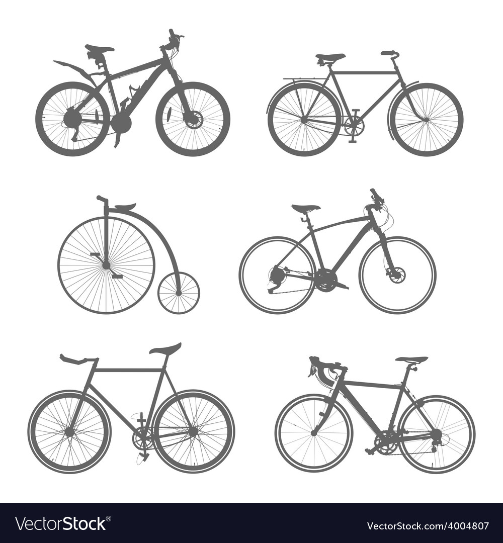 Set of silhouettes bicycles vector | Price: 1 Credit (USD $1)