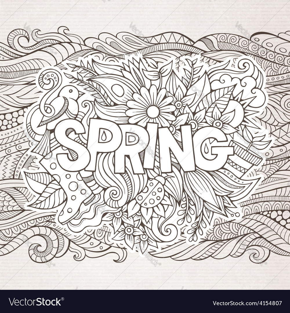 Spring hand lettering and doodles elements vector   Price: 1 Credit (USD $1)