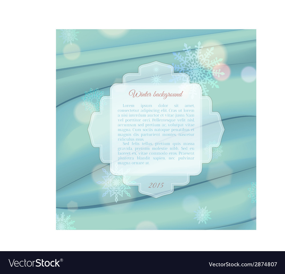 Winter background with frame for text vector | Price: 1 Credit (USD $1)