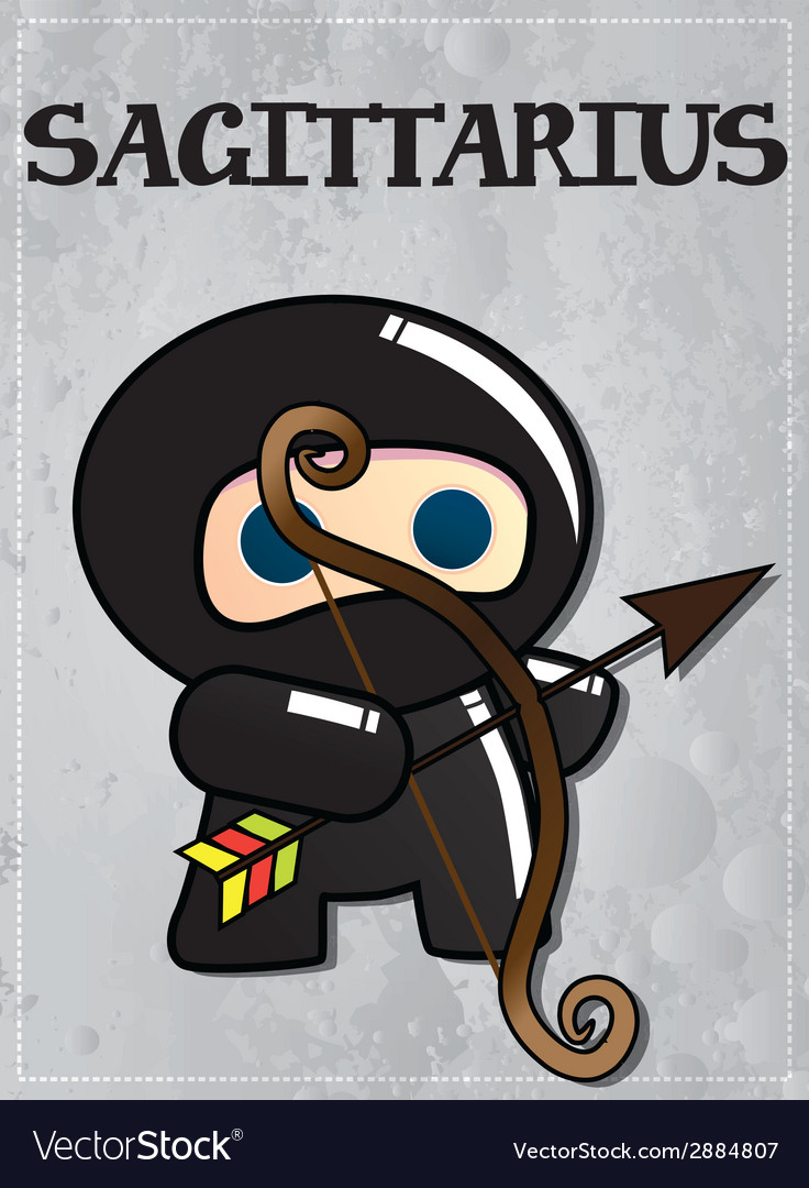 Zodiac sign sagittarius with cute black ninja vector | Price: 1 Credit (USD $1)
