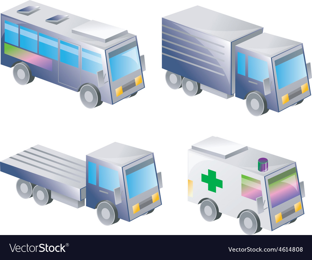 3d icons of land transportation vector   Price: 1 Credit (USD $1)