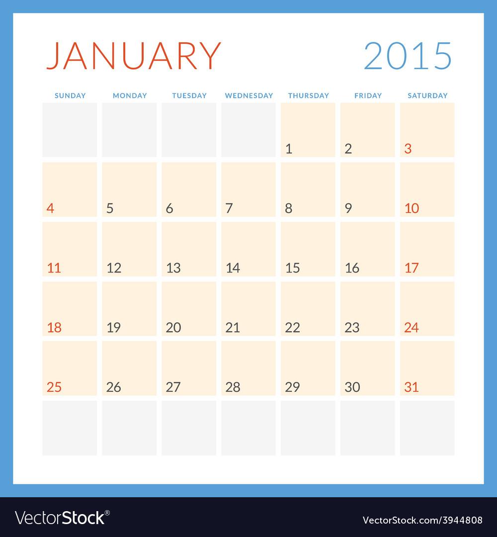Calendar 2015 flat design template january week vector | Price: 1 Credit (USD $1)
