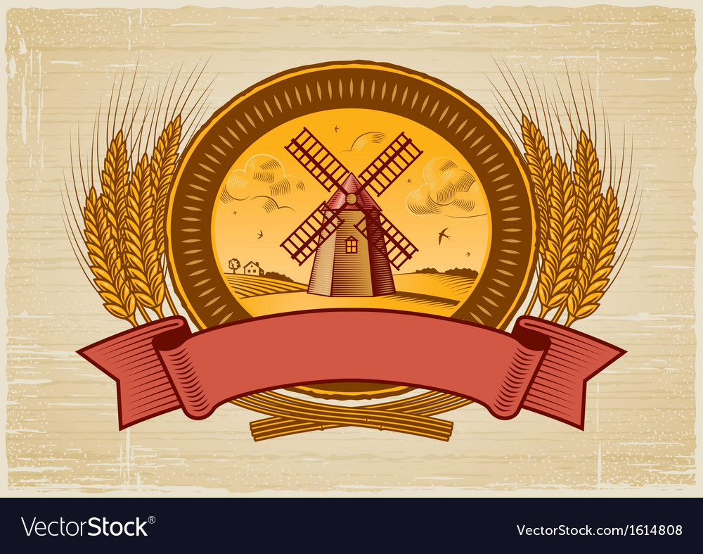 Cereal harvest label vector | Price: 1 Credit (USD $1)