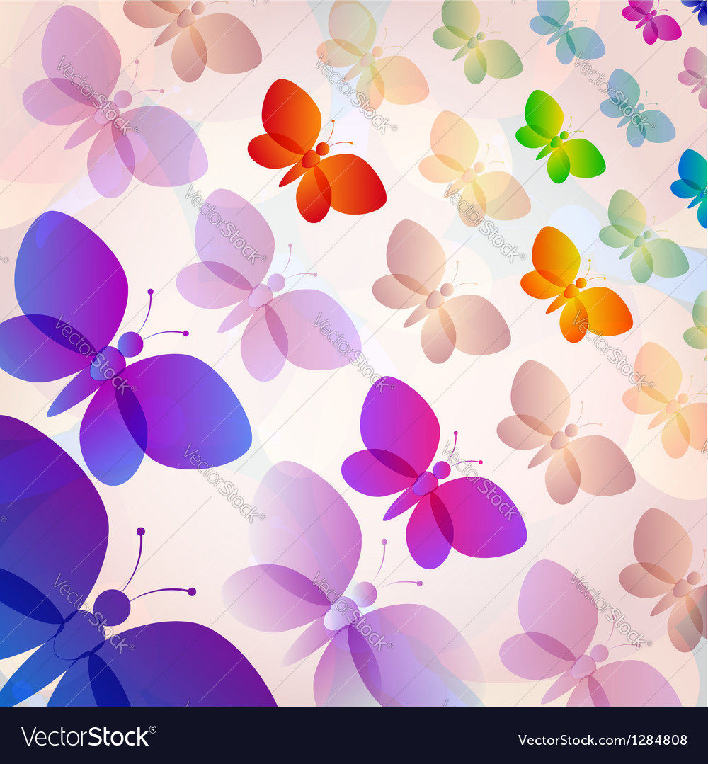 Colorful transparent butterflies summer pattern vector | Price: 1 Credit (USD $1)