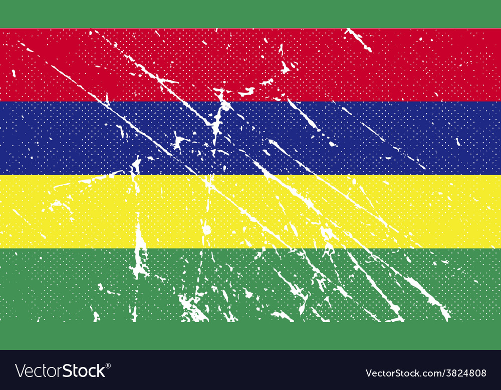 Flag of mauritius with old texture vector | Price: 1 Credit (USD $1)