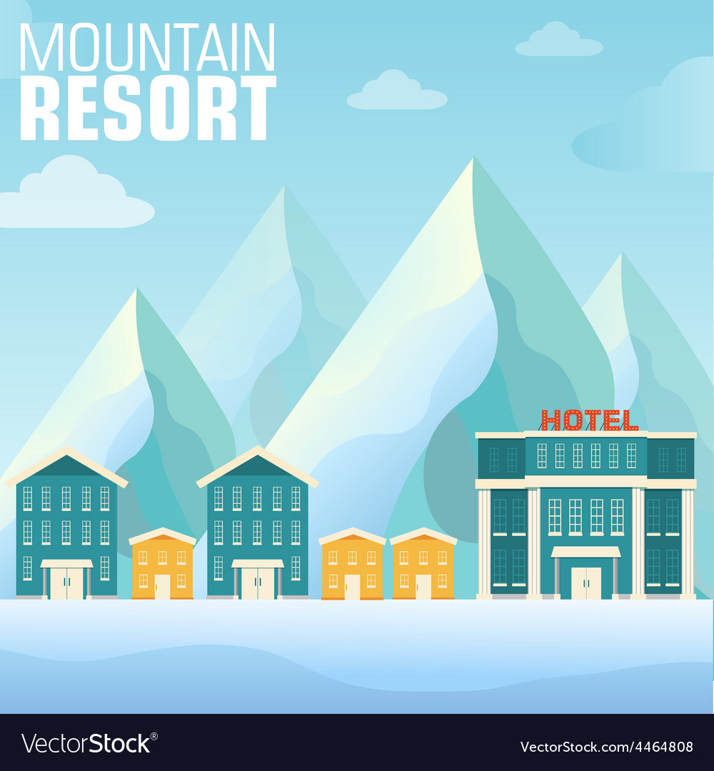 Flat resort mountain concept backgrounds vector | Price: 1 Credit (USD $1)
