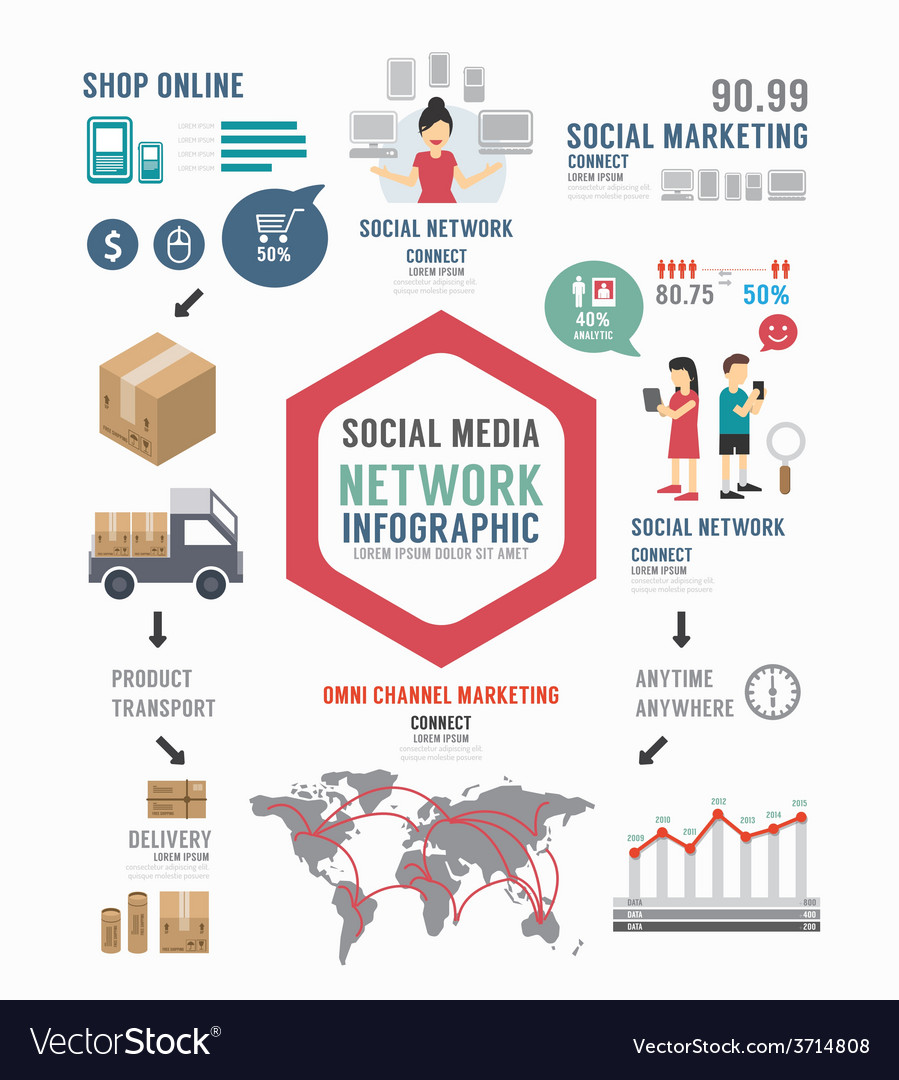 Infographic social business template design vector | Price: 1 Credit (USD $1)
