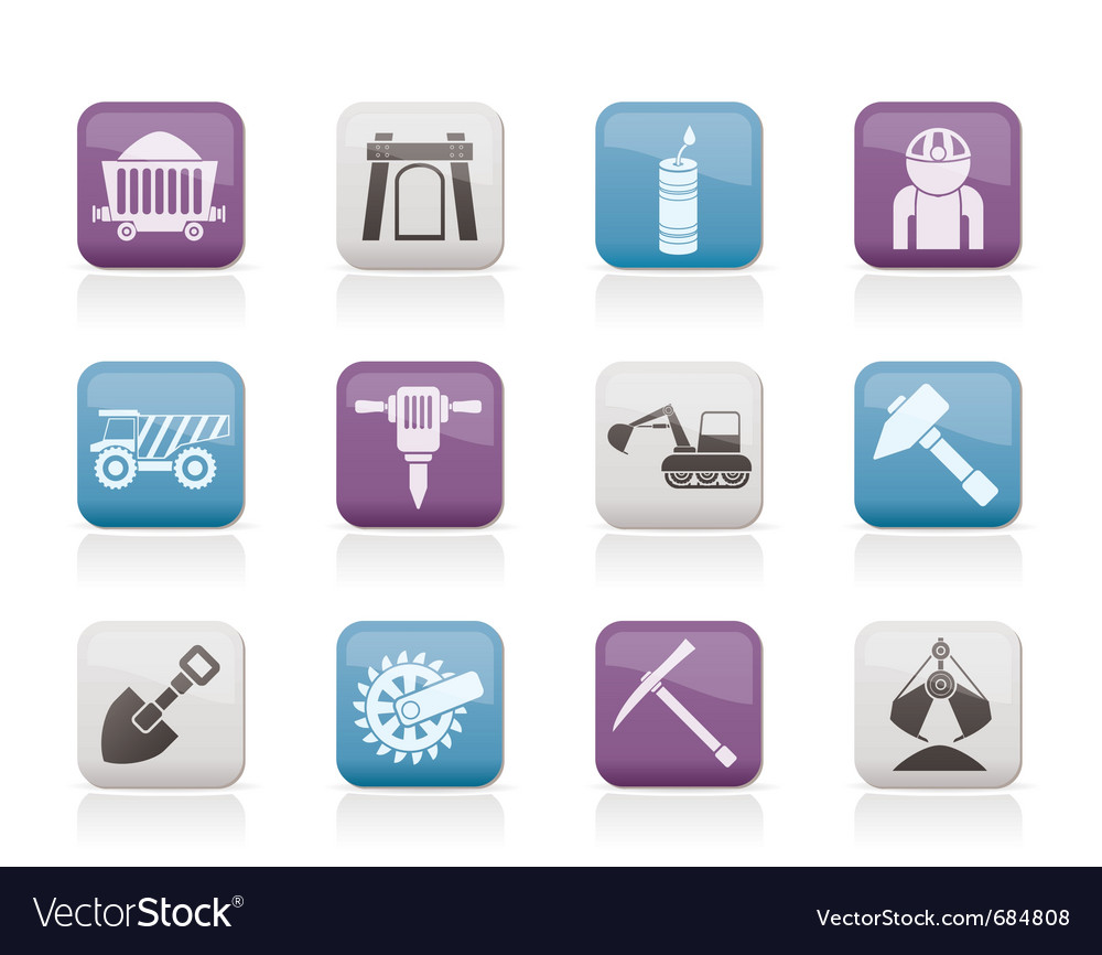 Mining and quarrying industry objects and icons vector