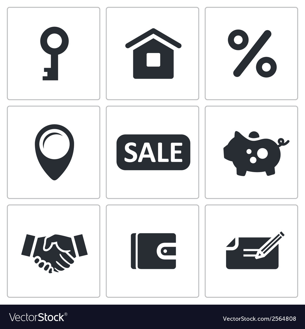 Real estate deal icon set vector | Price: 1 Credit (USD $1)