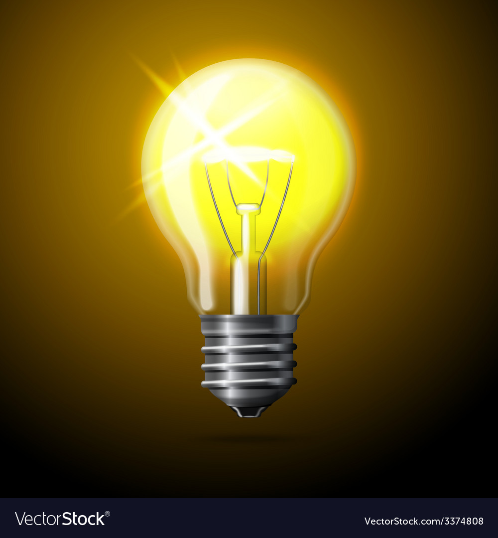 Realistic glowing light bulb on dark background vector | Price: 3 Credit (USD $3)