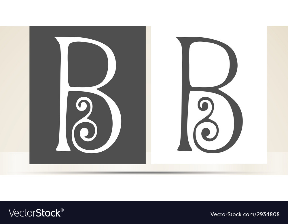 Retro alphabet letter b art deco vintage design vector | Price: 1 Credit (USD $1)