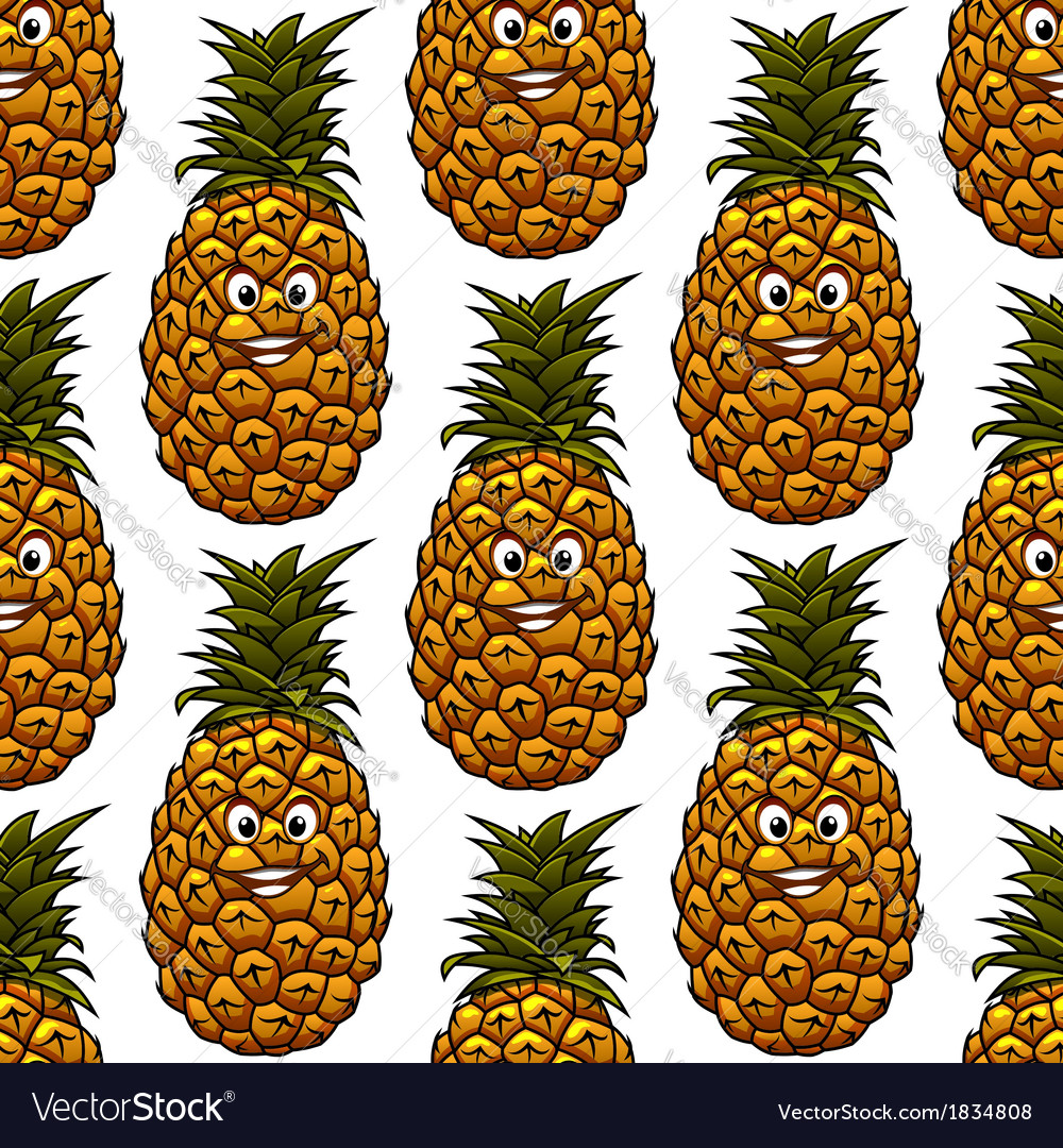 Seamless background with pineapple character vector | Price: 1 Credit (USD $1)
