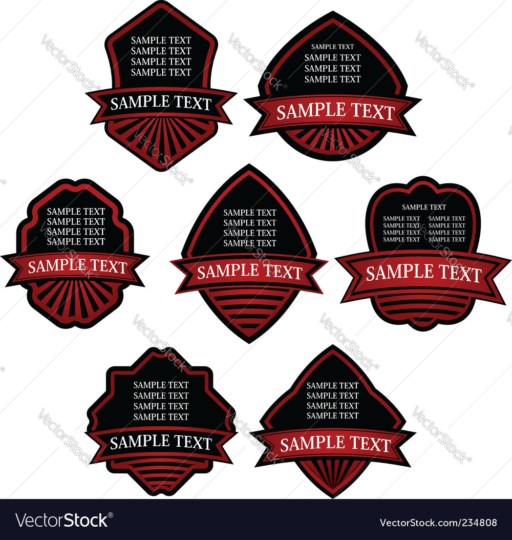 Set of red striped labels vector | Price: 1 Credit (USD $1)