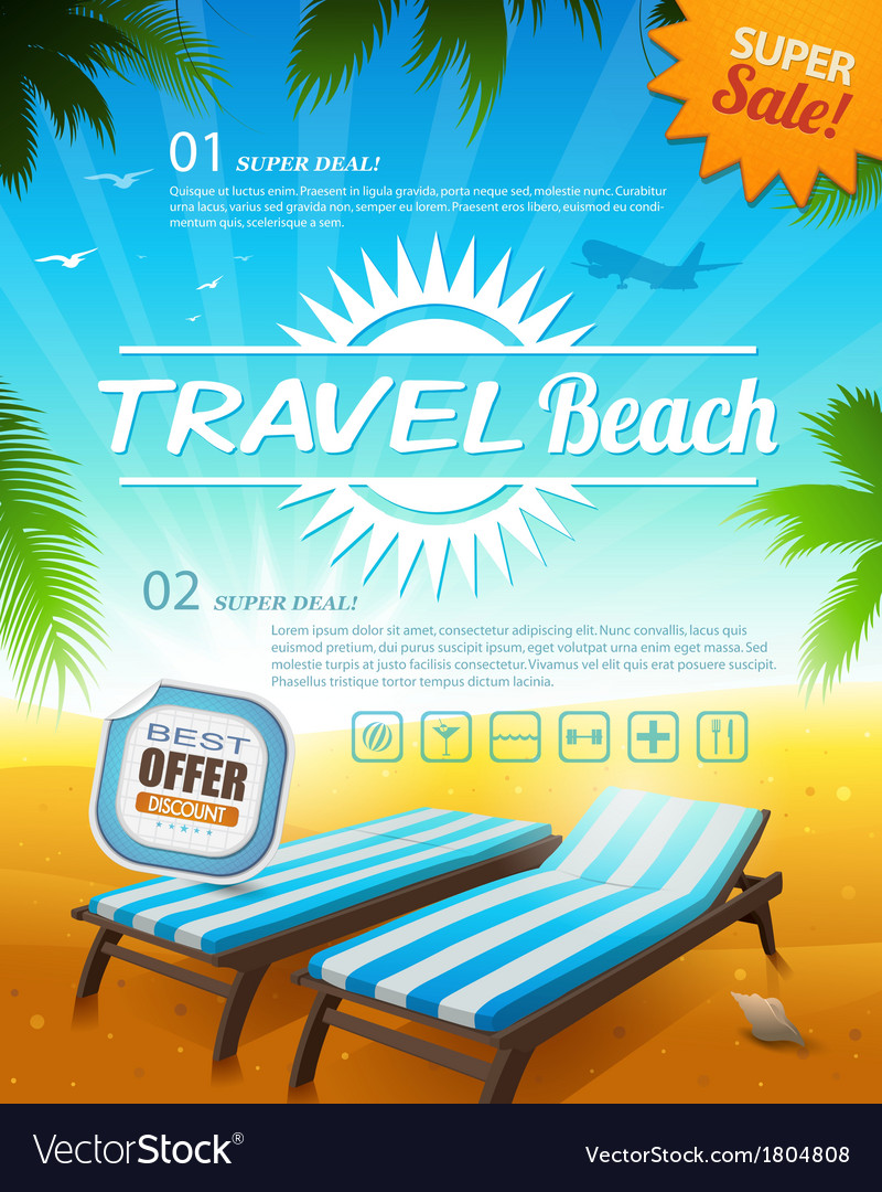 Summer beach vacation background vector | Price: 1 Credit (USD $1)
