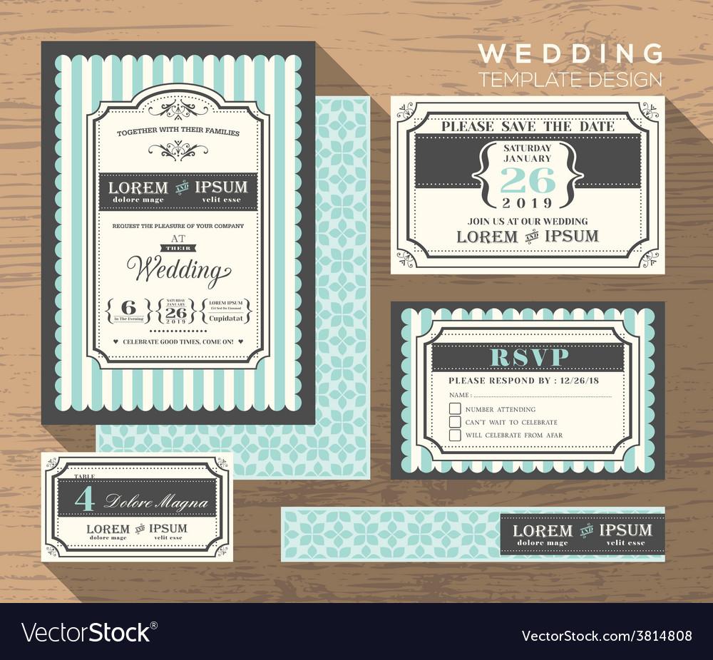 Wedding card invitation set design template vector | Price: 1 Credit (USD $1)