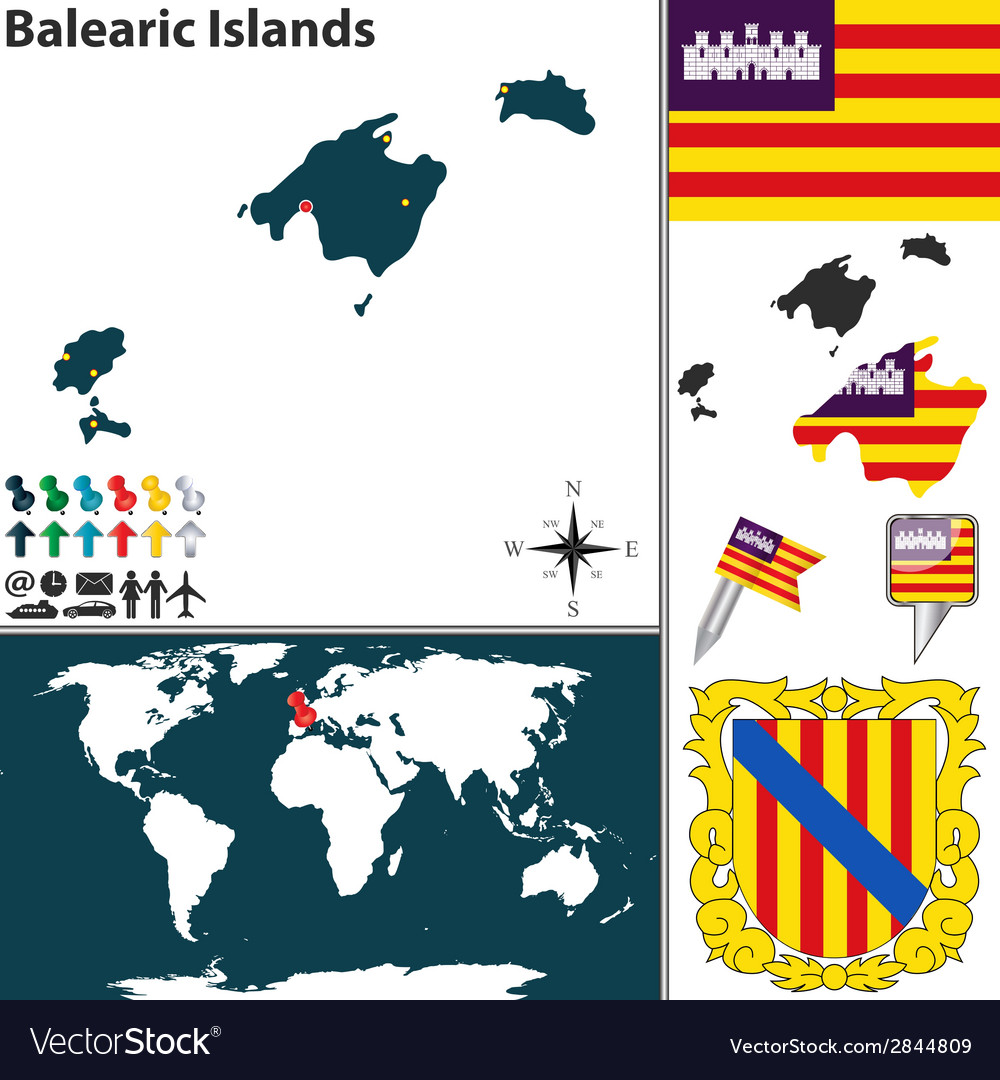 Balearic islands map world vector | Price: 1 Credit (USD $1)