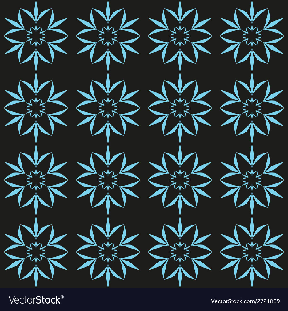 Cyan flower seamless pattern vector | Price: 1 Credit (USD $1)