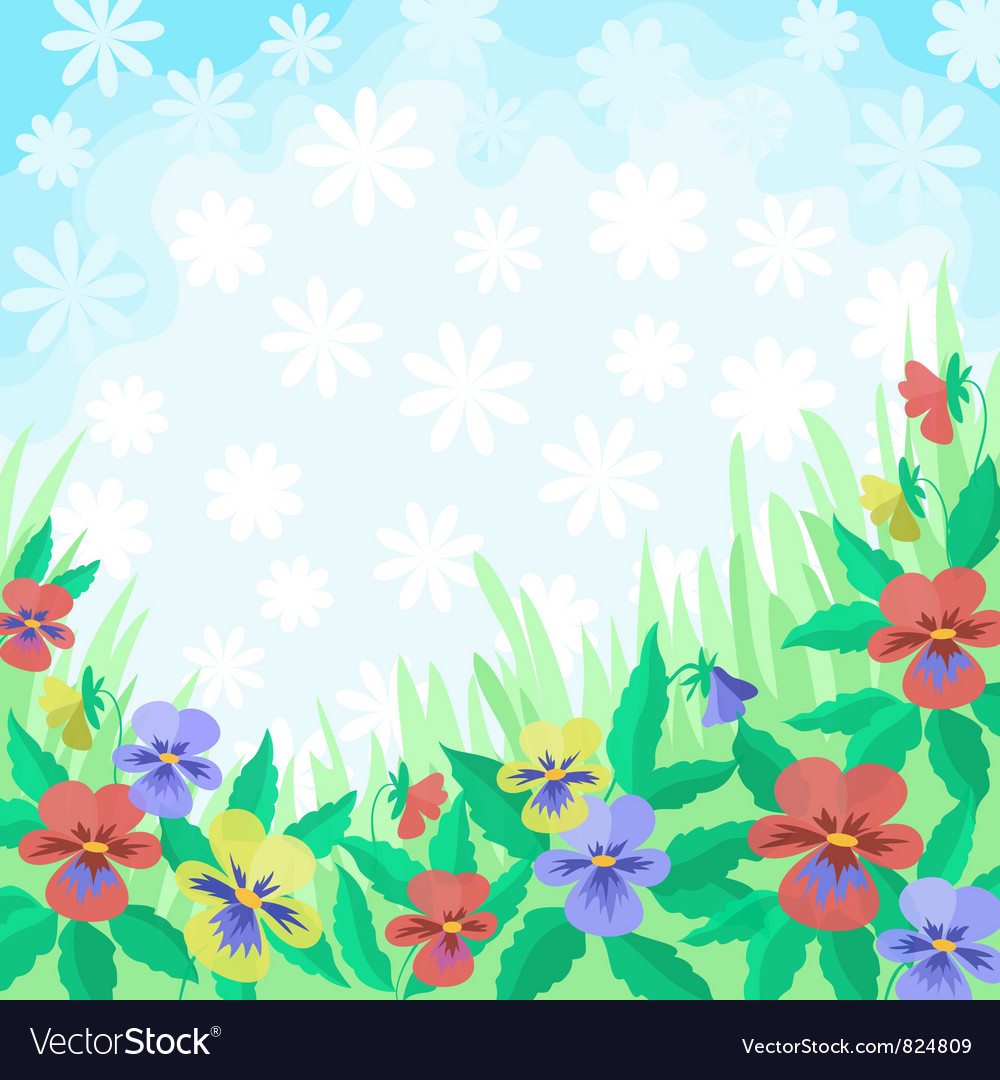 Flowers pansies and sky background vector | Price: 1 Credit (USD $1)